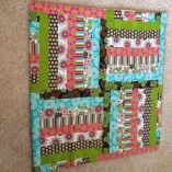 pink green blue baby quilt