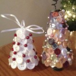 Christmas ornaments button tree medium (right) and small (left)